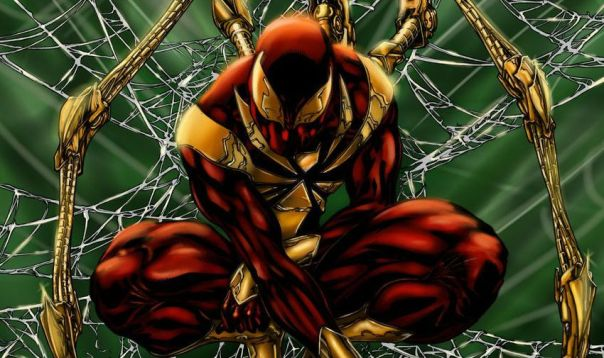 The Iron Spider costume. Marvel Comics.
